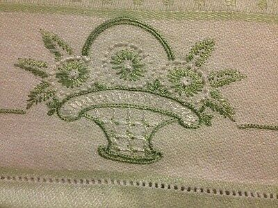 Lovely Damask White/ Light Green Tea Towel Hand Embroidered Flower Pattern