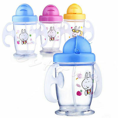 New Durable Children Baby Straw Cup Drink Bottles Sippy Cups Handles Cute 200ML