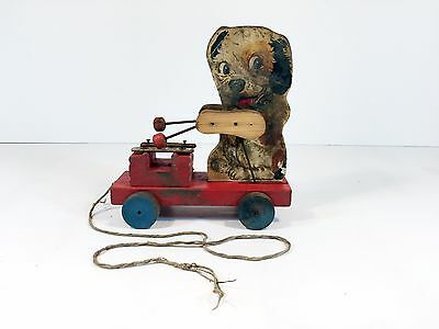 Fisher Price merry mutt 473 pull toy wood