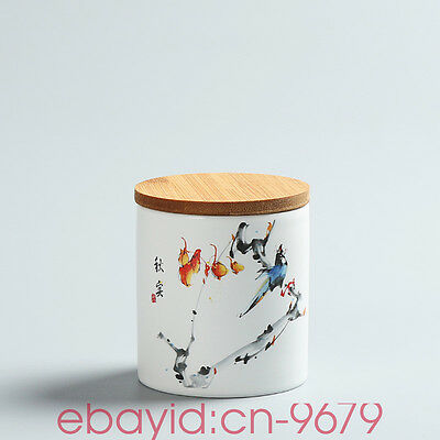 "Hand-painted tea cans Ceramic tea caddy Sealed jar Food cans Sugar Bowl ""秋实"""