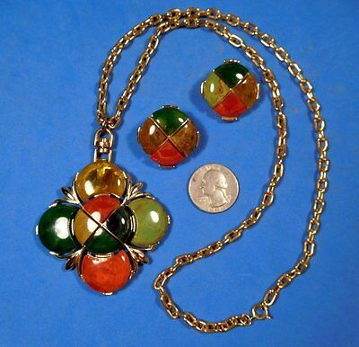 Vintage Multicolor Genuine BAKELITE ART DECO Cross Pendant Necklace & Earrings