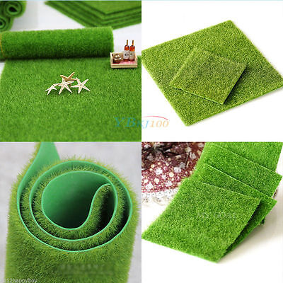 Plastic Square Artificial Grass Mat 15cmx15cm Thick Fairy Garden Fake Turf Lawn