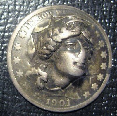 1901 Barber Half Dollar Pop Out Vintage Coin Take a Look