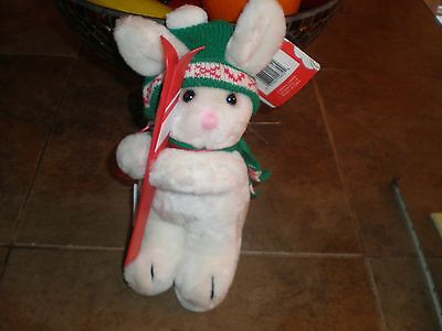 Vintage 1986 Dakin Sno Bunny Rabbit on skis Stuffed Plush Toy New NOS RARE