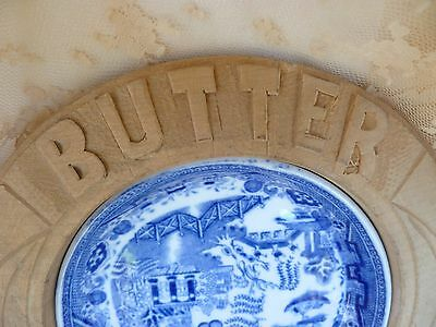 Antique~Vintage~French~Country~Cottage~Blue~Willow~Carved~Wood~Butter~Dish~Plate