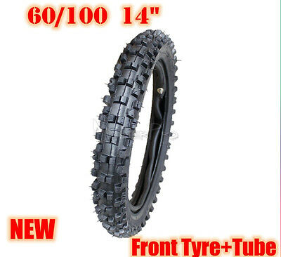 "14 inch front knobby tyre with tube 14"" 60/100-14 tire, dirt bike, pit bike, CRF"