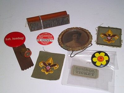 Junk Drawer Lot Misc Vintage Items Jr Fire ring PA Fishing Boy Scout Brooklyn