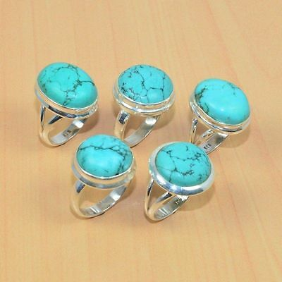 Wholesale 5 Pc 925 Solid Sterling Silver Natural Turquoise Ring Lot
