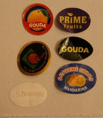 Citrus LABELS STICKERS fruit different 6 pcs Mandarin orange