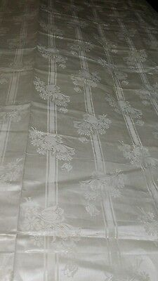 """Vintage 1920's 30's Pure Irish Linen Material Floral Tablecloth?  """" NEW OLD"""""""