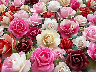 100! Lovely Handmade Mulberry Paper Roses Pink White Cream Red Romantic Rose Mix