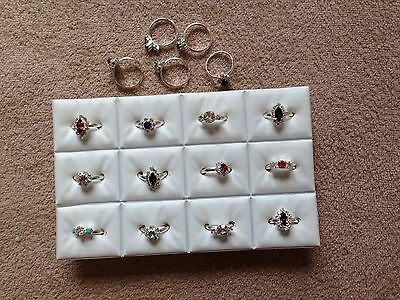 JOBLOT-12 rings-3 styles of colour/crystal diamonte.Silver plated.UK made.