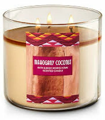 1 Bath & Body Works MAHOGANY COCONUT Large Scented 3-Wick Candle 14.5 oz