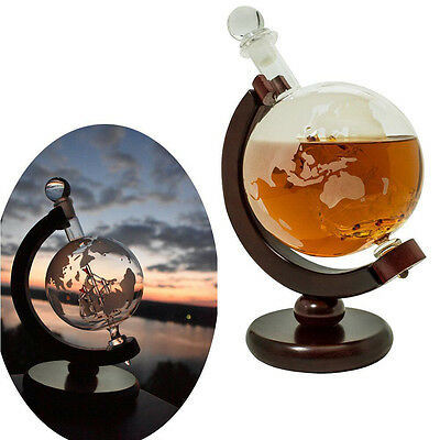 Whiskey Decanter Vintage Glass Globe 1000ml with Antique Ship Wood Base Stopper