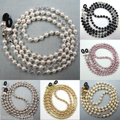 Pearl Crystal Sunglasses Reading Glasses Spectacles Eyeglass Holder Cord Chain