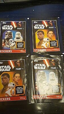 4 packs stickers Topps STAR WARS Part 1 Unopened The Force Awakens
