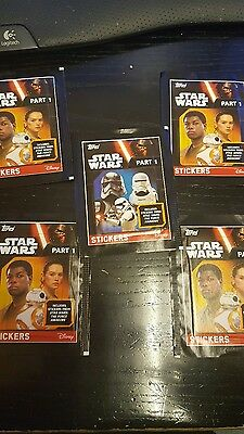 5 packs stickers Topps STAR WARS Part 1 Unopened The Force Awakens