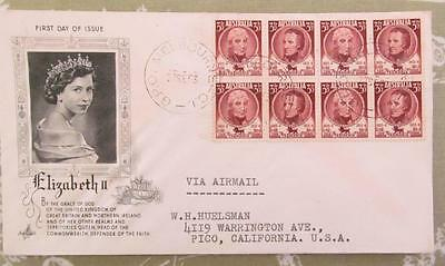 1953 First Day Cover Sesquincentenary Tasmania block of 8 x 3 1/2d