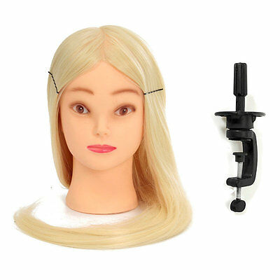 28 Inch Professional Long Hairdressing Mannequin Training Practice Head + Clamp