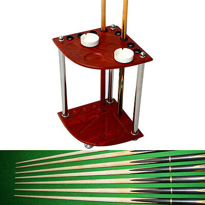 Wooden Snooker Billiard Cue Rack Holder Table Balls Drink Rest Table+Ashtray