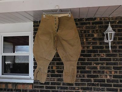 Ww1 Us Army Officers Khaki Riding Pants / Trousers Zinc Button Fly