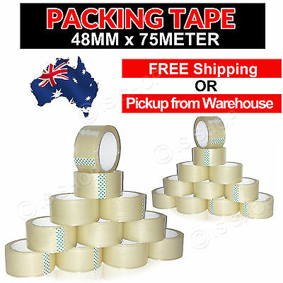Heavy Duty Sealing Clear Packing/Shipping/Box Tape - 48mm x 75M 108/72/36/12 PCs