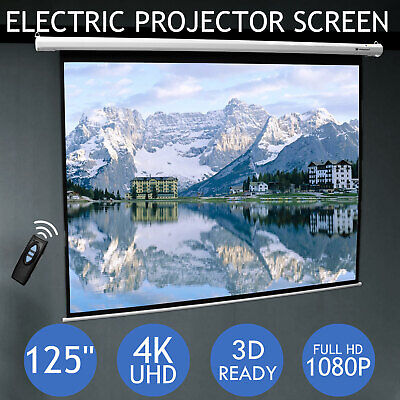125 Inch Projector Screen Home Theatre HD TV Electric Motorised Projection 3D