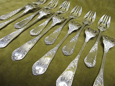 Gorgeous 1900 french sterling silver 6 fish forks rococo st Victor Boivin