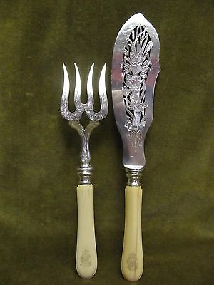 late 19th c french sterling 950 silver & bone of bovid fish serving set