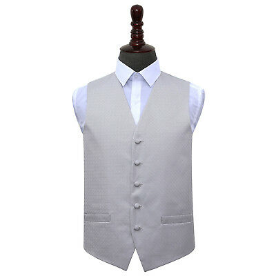 New Dqt Greek Key  Mens Wedding Waistcoat - Silver