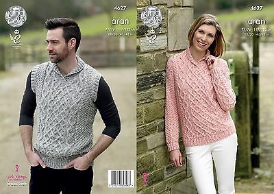 KINGCOLE 4627 LADIES ARAN KNITTING PATTERN  28 - 46IN -not the finished garments