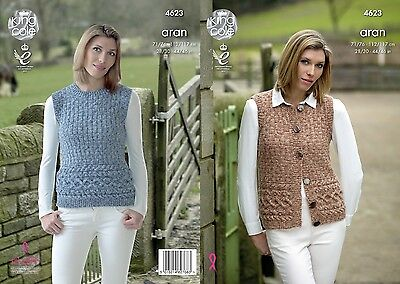 KINGCOLE 4623 LADIES ARAN KNITTING PATTERN  28 - 46IN -not the finished garments