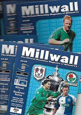 2001/2 Millwall v Coventry City  football programme