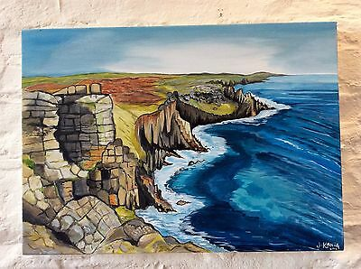 LARGE ORIGINAL PAINTING 28 X 20 Inches LANDS END
