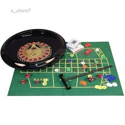 """WHEEL FELT with 60 CHIPS,1 RAKE ,2x DECKS OF CARDS - 10"""" INCH BOXED ROULETTE SET"""