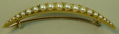 Victorian Antique 15K Gold (Tested) Seed Pearl Set Crescent Brooch C.1900 - 4.9G