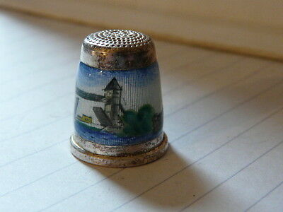 Thimble solid 925 silver and enamel London Tower Bridge rare