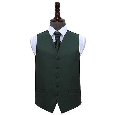 DQT Greek Key Patterned Dark Green Mens Wedding Waistcoat & Cravat Free Pin