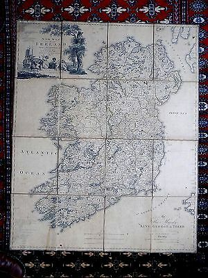 1792 Beaufort Map Ireland Large 109x88 Dublin Belfast Genuine Antique Engraving