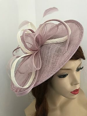 NEW Lilac Ivory/cream Fascinator Saucer Hat Hatinator Wedding Formal Ladies Disc