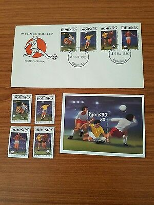 Dominica Stamps FDC World Cup Mexico 86 + extra set of 5 Stamps .