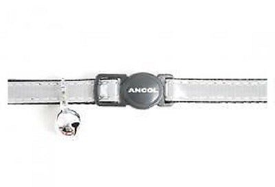 Ancol Cat Silver Shiny Gloss Reflective Collar with Bell