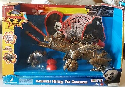 Kung Fu Panda 2 Exclusive Playset Golden Kung Fu Cannon Includes Wolf Warrior Fi
