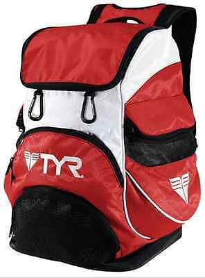 TYR ALLIANCE TEAM BACKPACK II RED Swimming Bag goggle saver Water Storage New