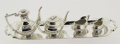 Silver Hallmarked Birmingham 1965 Tray & 4 Piece  Miniature Tea Set