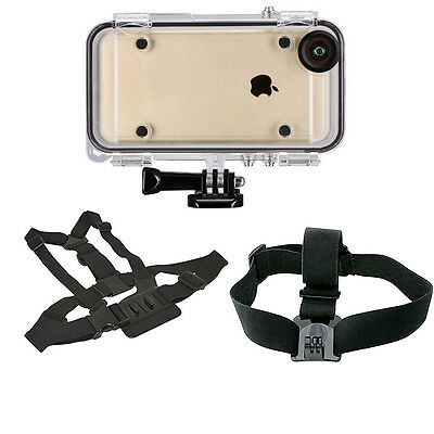 Sports Waterproof Case for iPhone 6,6S, Adjustable Chest & Head Strap Mount