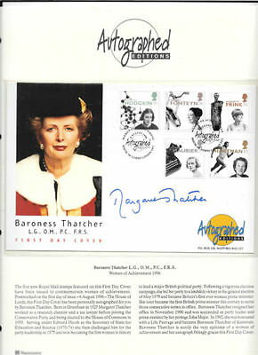 Politics fdc 1996 SIGNED Margaret Thatcher, Autographed Editions Certified
