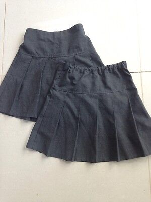 Set Of 2 Girls Grey Pleated School Skirts From M&S Age 8-9yrs