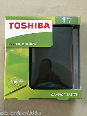 LOT 5x  Toshiba Canvio Basics 1TB USB3.0 Portable External Hard Disk Drive Black
