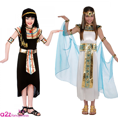 Girls Cleopatra Egyptian Queen History Day Childrens Fancy Dress Costume Outfit